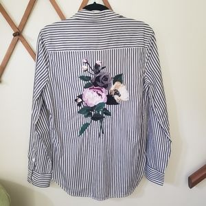 Equipment Femme Striped Embroidered Button Up - M
